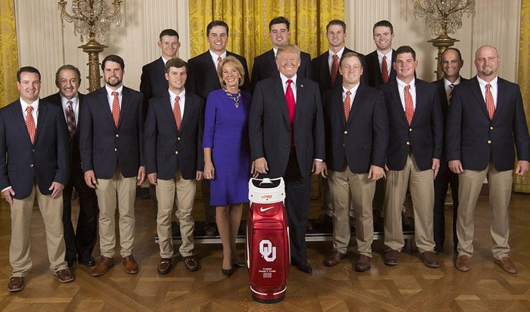 Sooners golf team visits the White House, meets President Trump